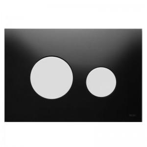 poza Clapeta WC TECE loop din sticla neagra cu butoane albe 2 trepte de actionare