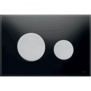 poza Clapeta WC TECE loop din sticla neagra cu butoane crom mat 2 trepte de actionare
