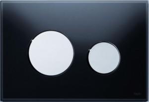 poza Clapeta WC TECE loop din sticla neagra cu butoane crom lucios 2 trepte de actionare