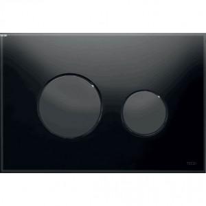 poza Clapeta WC TECE loop din sticla neagra cu butoane negre 2 trepte de actionare