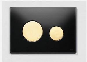 poza Clapeta WC TECE loop din sticla neagra cu butoane aurii 2 trepte de actionare
