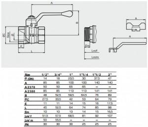 Poza Dimensiuni robinet de trecere cu sfera TIEMME Scirocco MF