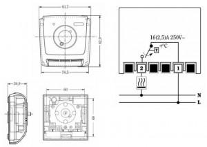 Poza Dimensiuni si schema de legatura Termostat de ambient electromecanic TIEMME