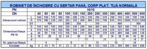 Poza Robinet sertar pana DUYAR PN10 DN80 - dimensiuni
