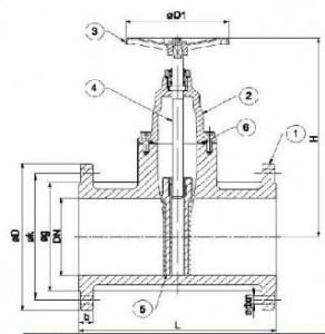 Poza  Robinet sertar pana DUYAR PN10 DN125 - schema
