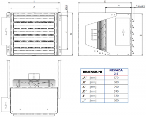 Poza Dimensiuni Aeroterma electrica industriala STAVOKLIMA Nevada 2E - 10 kW