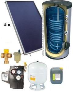 poza Pachet panouri solare plane Helis cu boiler Tesy de 200 l pentru 3-4 persoane