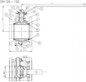 Poza Dimensiuni robinet gaz cu sfera si flanse BRANDONI PN16