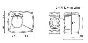Poza Dimensiuni servomotor compact rotativ ESBE ARA651