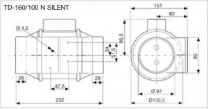 Poza Ventilator Soler & Palau TD-SILENT 160-100 - dimensiuni