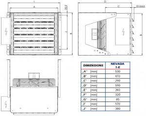 Poza Dimensiuni Aeroterma electrica industriala STAVOKLIMA Nevada 1E - 9 KW