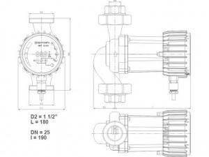 Poza Dimensiuni Pompa cu turatie variabila IMP PUMPS NMT SMART 32/60-180