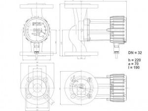 Poza Dimensiuni Pompa cu turatie variabila IMP PUMPS NMT SMART 32/60 F