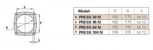 Poza Dimensiuni flansa montaj Arzator CLU sau pacura Riello PRESS 45 N