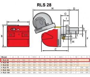 Poza Dimensiuni Arzator mixt Riello RLS 28 - 100-325 kW