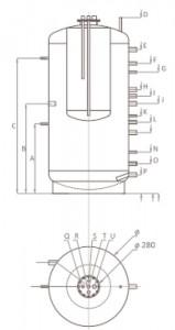 Poza Dimensiuni Puffer fara serpentina tip Tank in Tank Ferroli FB-T 1000 litri