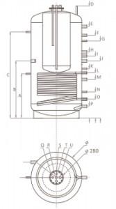 Poza Dimensiuni Puffer cu o serpentina tip Tank in Tank Ferroli FB-T1 1000 litri