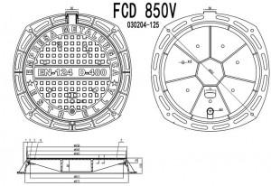 Poza Dimensiuni Capac fonta carosabil ventilat clasa D FCD850V - 40 tone