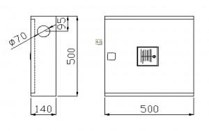 Poza Dimensiuni Cutie hidrant interior AURAS LT C52 cu usa cu sticla - inox - complet echipata