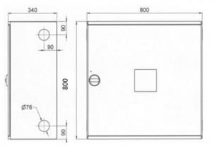 Poza Dimensiuni Cutie hidrant interior AURAS AT 33 - cu usa cu sticla - rosie - complet echipata