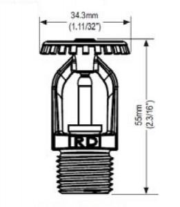 Poza Dimensiuni Sprinkler upright Rapidrop RD024-93 alama 1/2