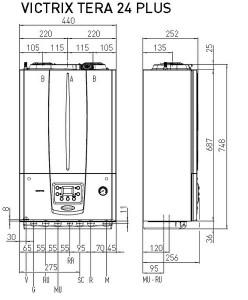 Poza Dimensiuni Centrala termica pe gaz in condensare IMMERGAS VICTRIX TERA 24 PLUS - incalzire = 24 kW