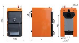 Poza Dimensiuni Cazan din fonta pt. combustibil solid lemn/carbune Ferroli SFR Pro 8