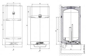 Poza Dimensiuni Boiler electric vertical DRAZICE OKCE 125 - 125 litri