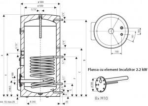 Poza Dimensiuni Boiler termoelectric de sol DRAZICE OKCE 200 NTR / 2.2 kW - 200 litri