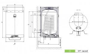 Poza Dimensiuni Boiler termoelectric DRAZICE OKC 125