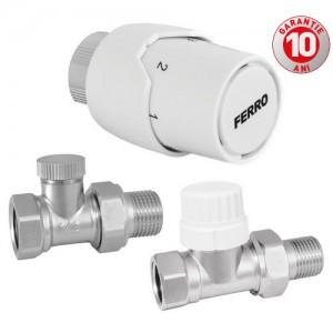 "poza Set robineti radiator drepti FERRO ½"" cu cap termostatic"