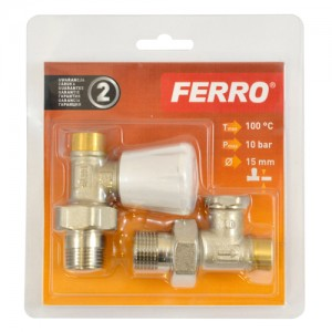 poza Set robineti tur/retur calorifer drept FERRO ½ , ZGL01