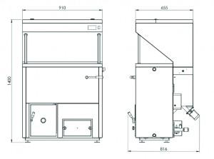 Poza Dimensiuni Cazan pe peleti BIODOM DOUBLE FAN 34, 8,6 – 30.8 kW