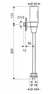 Poza Dimensiuni Baterie pisoar cu infrarosu SCHELL, SCHELLTRONIC