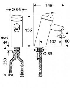 Poza Dimensiuni Baterie cu temporizator pentru lavoar SCHELL PURIS SC-M
