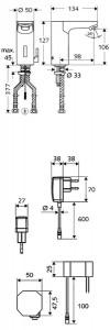 Poza Dimensiuni Baterie cu senzor electronic pentru lavoar SCHELL CELIS E HD-M - 220 V