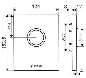 Poza Dimensiuni Placa actionare spalare pisoar SCHELL EDITION