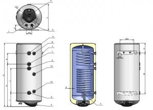 Poza Dimensiuni Boiler solar cu 2 serpentine si rezistenta electrica ELDOM 120 litri