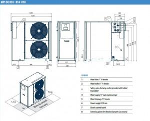 Poza Dimensiuni Chiller aer-apa GALLETTI MPI DC 010 M - 10.5 kW - racire