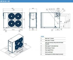 Poza Dimensiuni Chiller aer-apa GALLETTI MPI DC 023 - 22.8 kW - racire