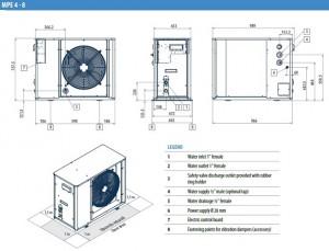 Poza Dimensiuni Chiller aer-apa GALLETTI MPE 5M - 5.09 kW - racire