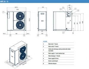 Poza Dimensiuni Chiller aer-apa GALLETTI MPE 10 - 9.17 kW - racire