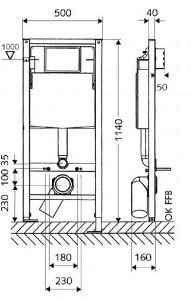 Poza Dimensiuni Modul de montaj cu rezervor WC SCHELL cu montaj in zidarie