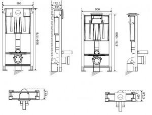 Poza Dimensiuni Rezervor ingropat Wirquin Pro cu sistem de prindere si clapeta crom lucios