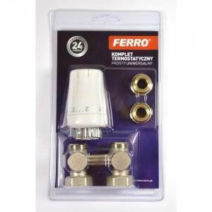 poza Set robinet radiator dublu drept Ferro 3/4 cu cap termostatat