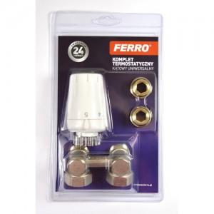 poza Set robinet radiator dublu colțar Ferro 3/4 cu cap termostatic