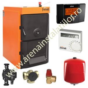 poza Pachet cazan din fonta combustibil solid lemn/carbune Ferroli SFR Pro 4 cu accesorii
