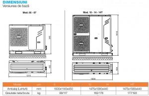 Poza Dimensiuni Pompa de caldura aer-apa FERROLI RVL-I PLUS 14T 14 kW