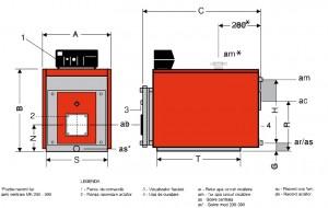 Poza Dimensiuni Cazan otel cu focar presurizat ARCA CALDAIE MK