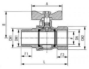 Poza Schema Robinet sferic pt gaz AIRAGA AIR333F 3/4' FI-FE